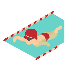 swimmer icon isometric 3d style vector image