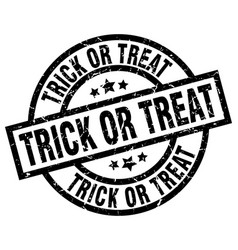 trick or treat round grunge black stamp vector image vector image