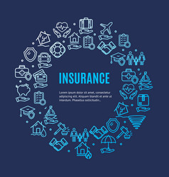 insurance round design template line icon concept vector image vector image