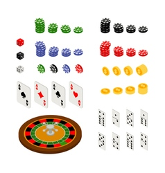 Isometric set of gambling and casino items vector image