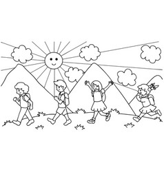 kids walking to school vector image