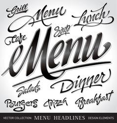 menu headlines set vector image vector image