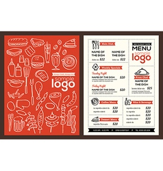 Modern Restaurant menu cover design template vector image vector image