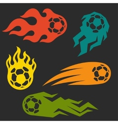 Set of elements fire soccer balls for design vector image
