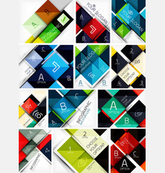 Set of glossy square backgrounds with vector