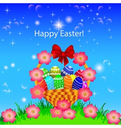 a postcard in the Easter basket of eggs flower vector image