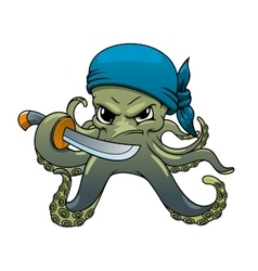 Angry cartoon octopus pirate with sword vector image vector image