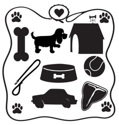 Dog Stuff Silhouettes vector image