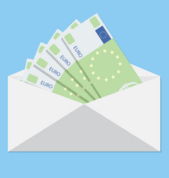 salary in envelope and bribe euro banknote vector image