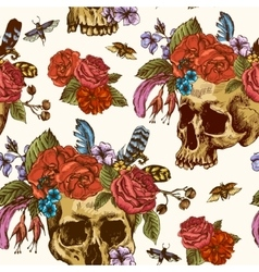 Skull and Flowers Day of The Dead Seamless Pattern vector image