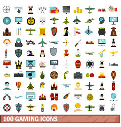 100 gaming icons set flat style vector
