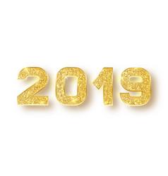 2019 glitter typography design gold sparkling vector image