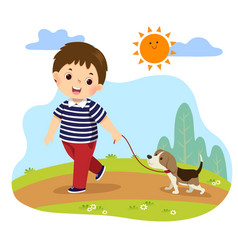 A boy taking his dog for a walk outdoors vector