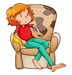 A tired girl at the chair vector image