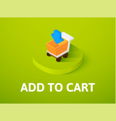 Add to cart isometric icon isolated on color vector