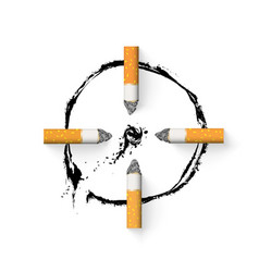 aim is drawn with a cigarette butt stop vector image