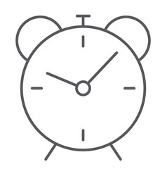 alarm clock thin line icon time and hour vector image