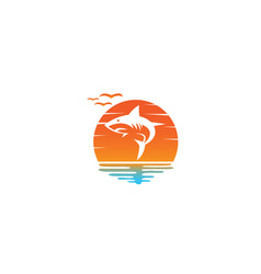 Angry blue shark fish logo design i a sun shape vector