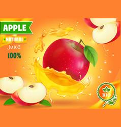 Apple juice advertising fruit refreshing drink vector