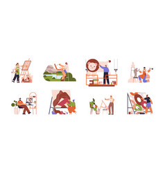 artists or creative people at working process vector image