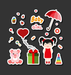 Baby icons for girls icon flat vector
