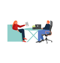 Bank manager consultation flat isolated vector