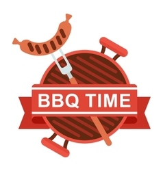bbq logo grill pan fork vector image