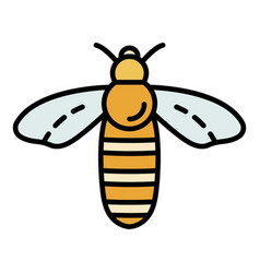 Bee icon color outline vector