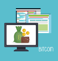 bitcoin business with desktop computer vector image