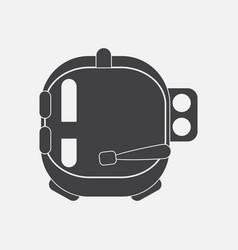 Black icon on white background astronaut helmet vector