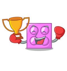 Boxing winner toy brick mascot cartoon vector