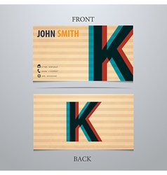 Business card template letter K vector image