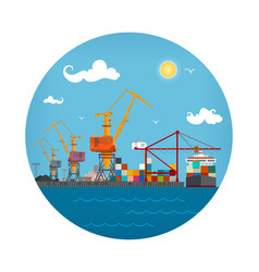 Cargo seaport icon vector