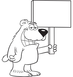 Cartoon Bear Holding a Sign vector image