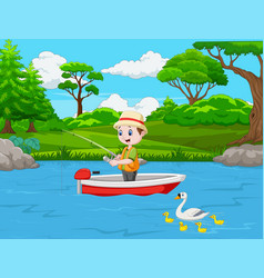 cartoon boy fishing on a boat vector image