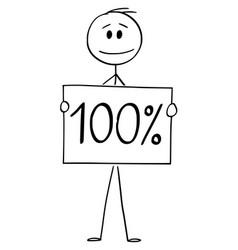 Cartoon man or businessman holding 100 or one vector