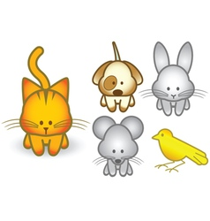cartoon pet animals set vector image