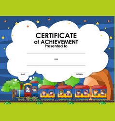 certification template with kids on the train vector image