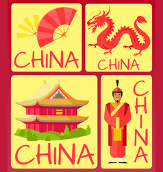 china fan ancient soldier red dragon and house vector image vector image