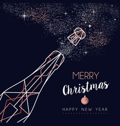 Christmas and new year copper line greeting card vector