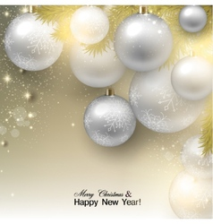 Christmas background with balls White Xmas baubles vector image
