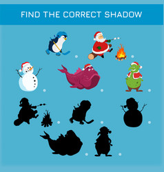 christmas game find correct shadow vector image