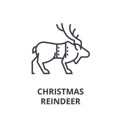 christmas reindeer line icon outline sign linear vector image vector image