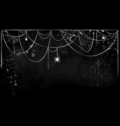 Cobweb horizontal banner with hanging spiders on vector