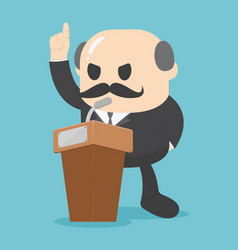 Conference concept with speaker on the podium vector