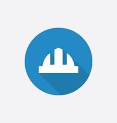 Construction helmet Flat Blue Simple Icon with vector