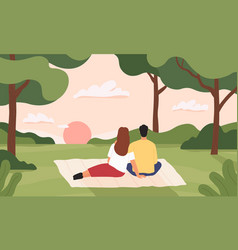 couple in forest man and woman hugging vector image