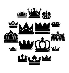 crown gold icons set simple style vector image