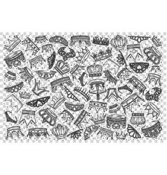 crowns doodle set vector image