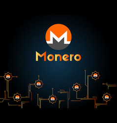 Cryptocurrency monero circuit background vector
